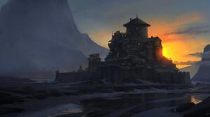Artwork Digital Art Mountains Sunset 2500x1238 Wallpaper