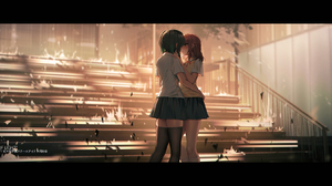 Anime Anime Girls Digital Art Artwork 2D Portrait Yurichtofen Two Women School Uniform Hugging Love  2000x924 Wallpaper