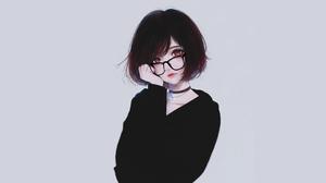 Artwork Kyrie Meii Short Hair Brunette Glasses Brown Eyes Women 1920x1080 Wallpaper