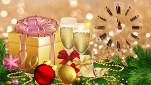Champagne Christmas Clock Decoration Gift New Year 1920x1080 Wallpaper