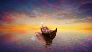 Artistic Canoe Dove Flower Horizon 2000x1200 Wallpaper
