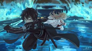 Asuna Yuuki Black Hair Blonde Kirito Sword Art Online Sword Sword Art Online 1920x1080 wallpaper
