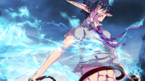 Ao No Exorcist Black Hair Blue Exorcist Boy Fire Pointed Ears Rin Okumura Tie 1920x1490 wallpaper