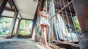 Women Model Asian Low Angle Legs Standing Heels Dress 3840x2160 Wallpaper