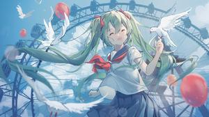 Anime Anime Girls Vocaloid Hatsune Miku School Uniform Twintails 2782x1454 Wallpaper