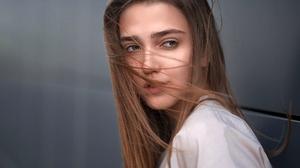 Woman Face Brunette 2048x1365 wallpaper