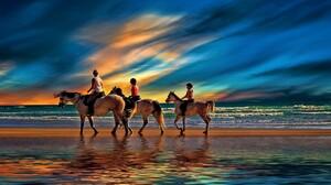 Animal Horse Beach Sunset Horizon 1920x1200 wallpaper