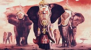 Animal Elephant Girl Woman 1920x1180 Wallpaper