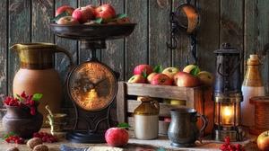 Apple Berry Fruit Lantern Pitcher Still Life 5184x3456 Wallpaper