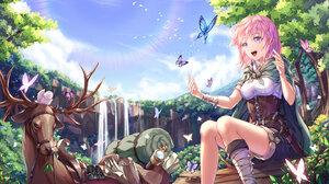 Bird Blue Eyes Butterfly Cloak Dagger Deer Flower Pink Hair Short Hair Smile Waterfall 4000x3000 Wallpaper