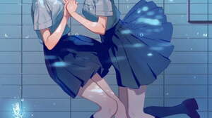 Anime Anime Girls Artwork Holding Hands Dark Hair Short Hair Long Hair Bangs Brown Eyes School Unifo 1080x1527 Wallpaper