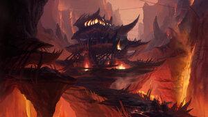 Yeonji Rhee Digital Art Fantasy Art Fire Castle Lava Canyon 1920x1084 Wallpaper