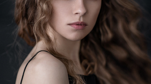 Mikhail Mikhailov Women Portrait Makeup Looking At Viewer Dress Brunette Long Hair Wavy Hair Blue Ey 1535x1920 wallpaper