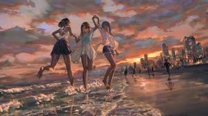 Anime Girls Original Characters Beach Sunset Barefoot 4096x1728 Wallpaper