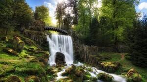 Bridge Earth Forest Green Moss Rock Tree Waterfall 1920x1200 Wallpaper