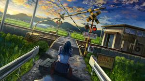 Anime Anime Girls Original Characters Landscape Wakuno School Uniform Refraction 3508x2480 Wallpaper
