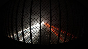 Long Exposure Night Mist Lights Fence Street Road 6000x3376 Wallpaper