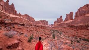 Brunette Canyon Girl Red Dress 2048x1330 Wallpaper