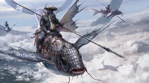 Su Jian Clouds Fish Spear Fantasy Armor Fantasy Art Flying 1920x1006 Wallpaper