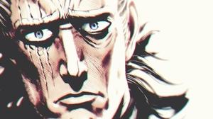 Leylek D Sovura One Punch Man Yusuke Murata Artwork King Looking At Viewer Blue Eyes Scars Face 2000x1890 wallpaper