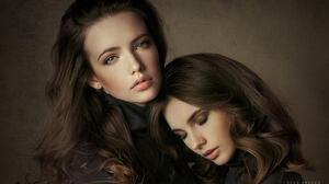Women Two Women Brunette Long Hair Makeup Blush Portrait Simple Background 2048x1202 Wallpaper