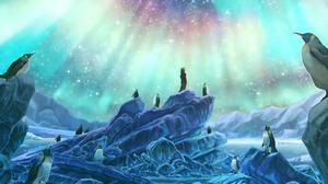 Aurora Borealis Night Penguin Stars 1920x1357 Wallpaper