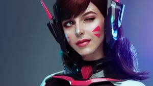 Cosplay D Va Overwatch Girl Lipstick Overwatch Wink Woman 3840x2160 wallpaper