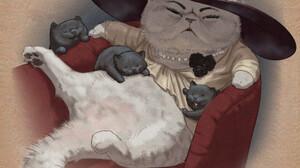 Nasaych Alcina Dimitrescu Cats Hat Drawing Fan Art Resident Evil 8 Village Video Game Girls Sitting  1920x1920 wallpaper