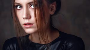 Alexey Kishechkin Women Ksenia Kokoreva Brunette Portrait Black Clothing Makeup Looking At Viewer Si 1728x2160 Wallpaper