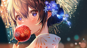 Anime Anime Girls Yukata Flower In Hair Brunette Fireworks Eating Blue Eyes Depth Of Field Looking A 7600x3920 Wallpaper