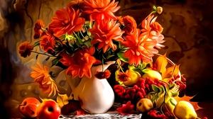 Fall Flower Fruit Still Life Vase 1950x1100 Wallpaper