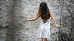 Women Model Long Hair Brunette Wavy Hair Depth Of Field Dress Rear View 2048x1152 Wallpaper