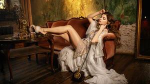 Nastasya Parshina Women Brunette Long Hair Wavy Hair Dress Retro Style Telephone Legs Table Couch Ma 1280x853 Wallpaper