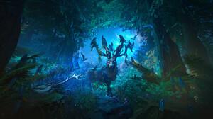 Tyler Smith Digital Art Fantasy Art Elk Forest Birds Antlers 3840x2080 Wallpaper