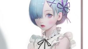 Re Zero Kara Hajimeru Isekai Seikatsu Short Hair Blue Hair Maid Outfit Anime Girls Blue Eyes Rem Re  1920x1799 Wallpaper