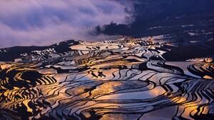 Terraced Field Rice Paddy Landscape Asia Violet 1800x1002 Wallpaper