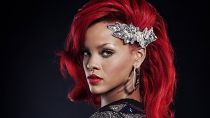 Earrings Jewelry Lipstick Red Hair Rihanna Singer 3744x3176 Wallpaper