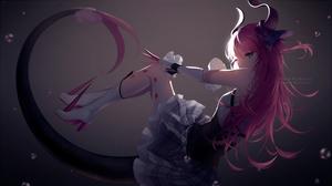 Anime Girls Rimuu Fate Series Fate Extra Elizabeth Bathory Fate Pink Hair Blue Eyes Horns Tail Dress 3000x1686 Wallpaper