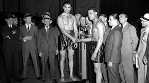 Joe Louis Max Schmeling Boxing Legends Handshake Suits Monochrome Weigh In Cigars 1936 Germany USA 1920x1080 Wallpaper