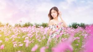 Asian Brunette Cosmos Dress Flower Girl Model Pink Flower Summer Woman 4000x2670 Wallpaper