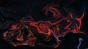 Abstract Fluid Liquid Artwork Colorful Shapes Dark Orange 3840x2160 Wallpaper