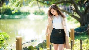 Asian Brunette Depth Of Field Girl Model Skirt Woman 4500x3002 Wallpaper