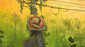Ismail Inceoglu Artwork Sign Power Lines Plants ArtStation Utility Pole Ivy 1767x2500 wallpaper