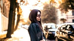 Black Hair Depth Of Field Girl Leather Jacket Model Mood Woman 2560x1707 Wallpaper