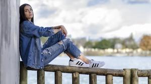 Torn Jeans Sitting Women Women Outdoors Jeans Jacket 2048x1348 Wallpaper