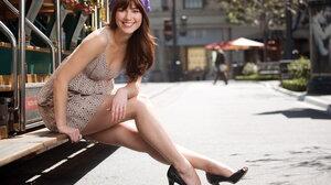 Actress American Brown Eyes Brunette Depth Of Field Dress Hat Mary Elizabeth Winstead Smile 2159x1470 Wallpaper
