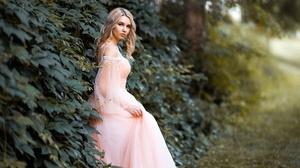 Blonde Depth Of Field Girl Model Pink Dress Woman 2040x1360 Wallpaper