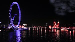 London Eye United Kingdom Night Sky Moon Water Thames Big Ben 2496x1664 wallpaper