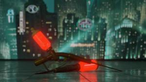 BioShock Syringe Video Game Art Fan Art 3D Red Blooms Rapture Lights Shiny Reflection Liquid Bronze  3840x2160 Wallpaper
