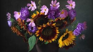 Colorful Cosmos Flower Purple Flower Sunflower Vase Yellow Flower 2300x1828 Wallpaper